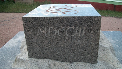 A stone with the date 1703 carved in Roman Numerals in it at Peter and Paul Fortress.