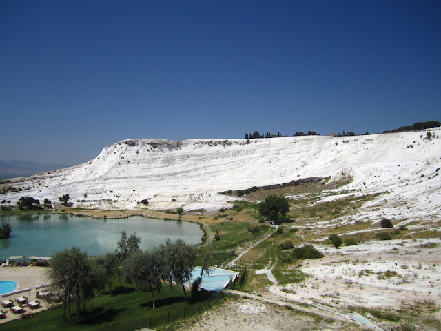 The travertines in Pamukkale, Turkey.