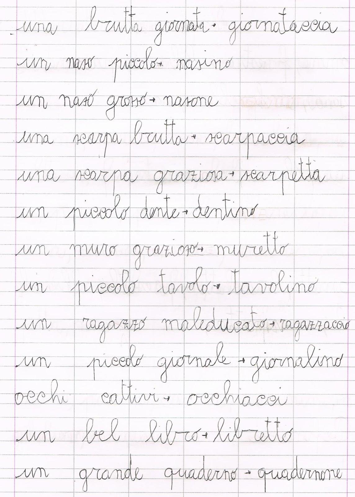 esercizi di grammatica relativi ai nomi alterati - Giardino Piccolo Nome Alterato