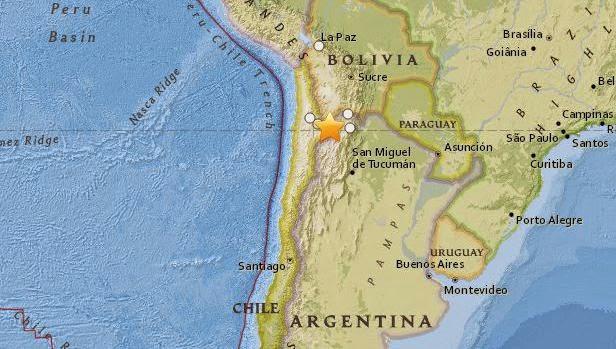 Epicentro sismo 6,9 grados Jujuy, Argentina