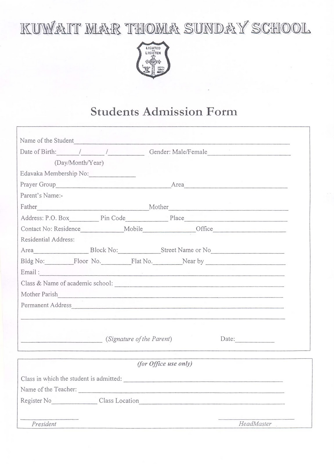 Sunday School Admission Form  Admission Form School