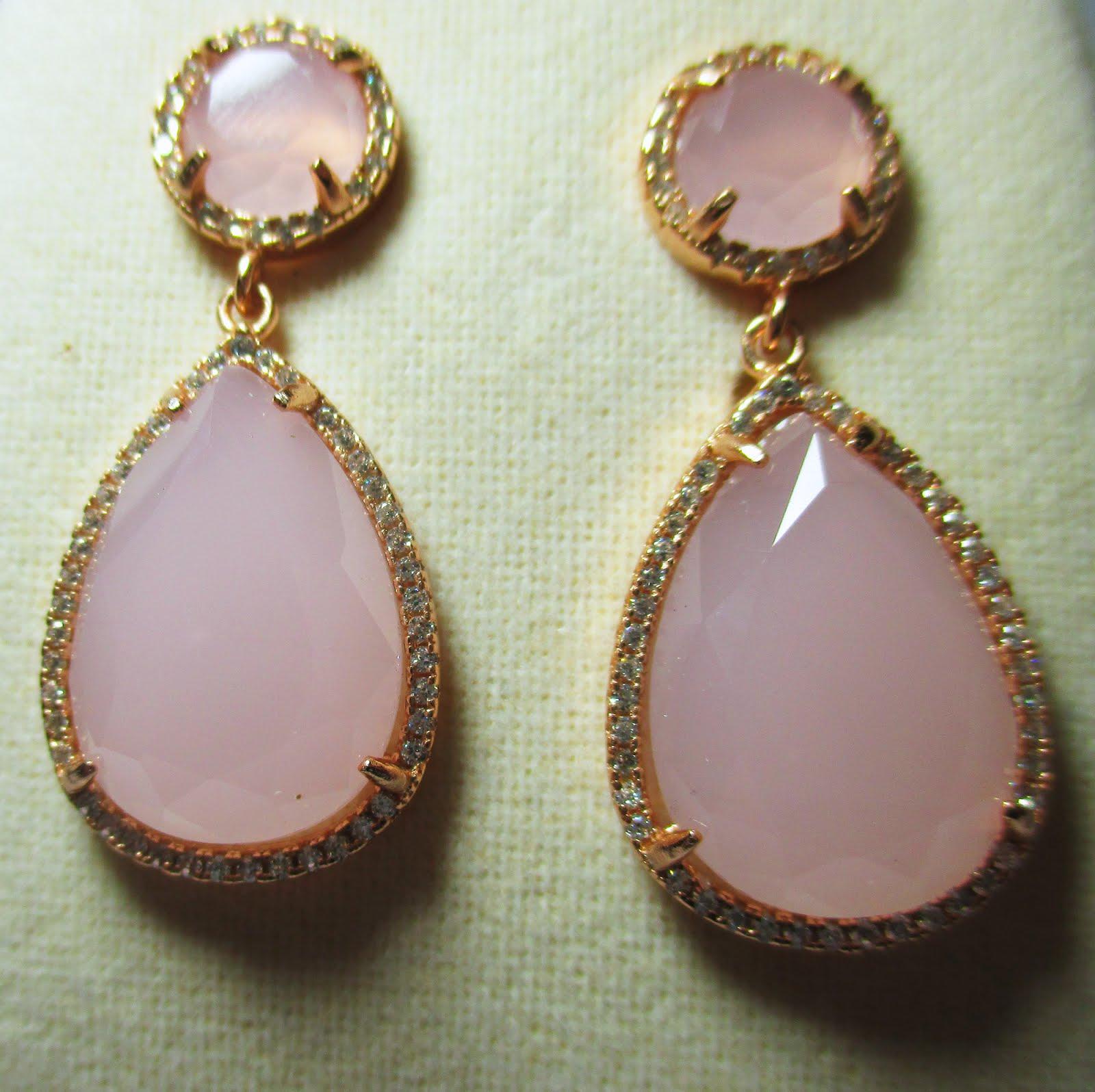 Pendientes de Plata rosa y circonitas