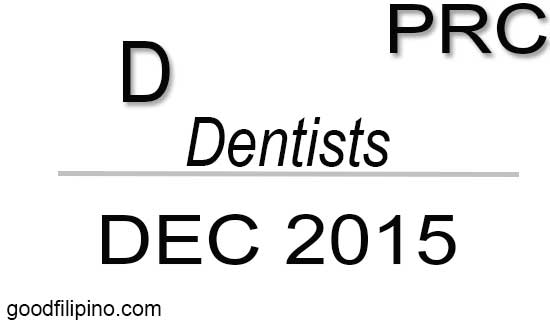 December 2015 Dentists Board Exam Results PRC List of Passers (Written)