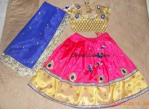 Pink and Cream Kids Half Sari