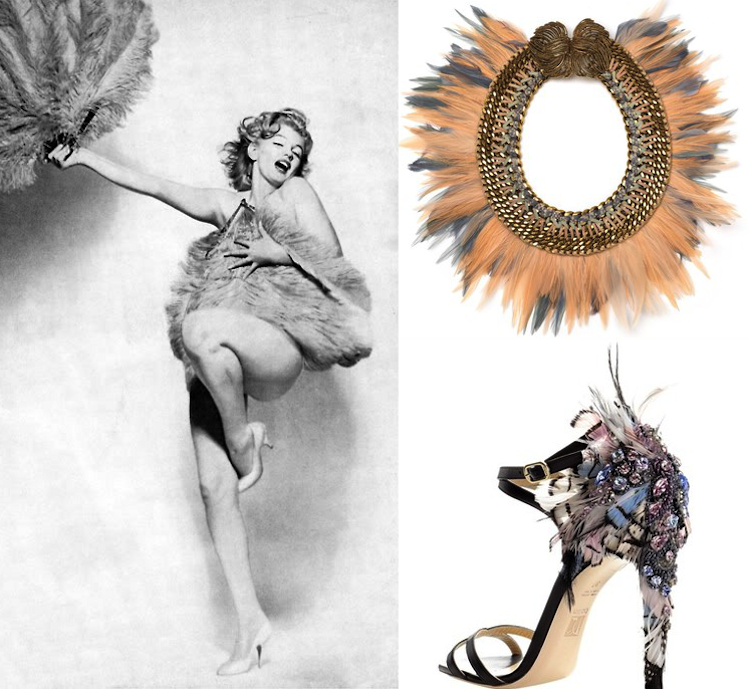 marilyn monroe, talons, collier, plumes