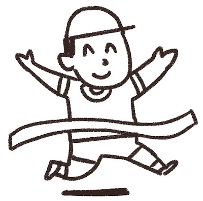 徒競走のイラスト 白黒線画