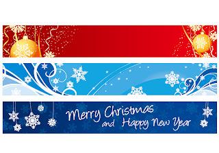 クリスマス飾りのお洒落なバナー EXQUISITE CHRISTMAS BANNER イラスト素材