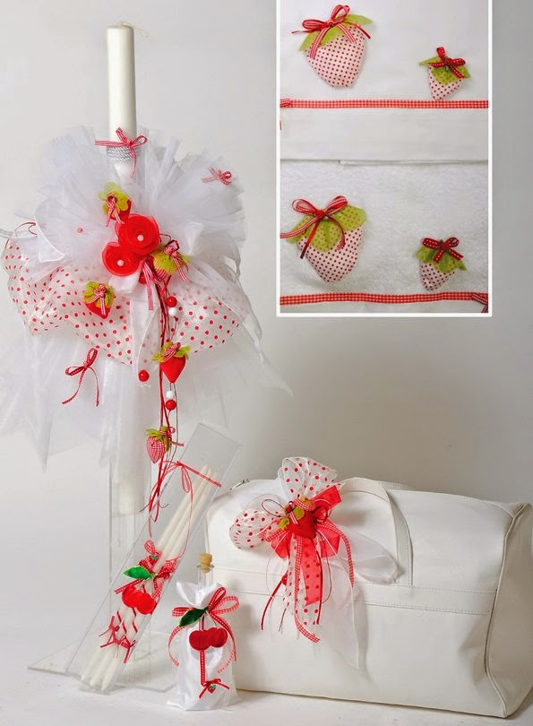 Christening set with strawberry
