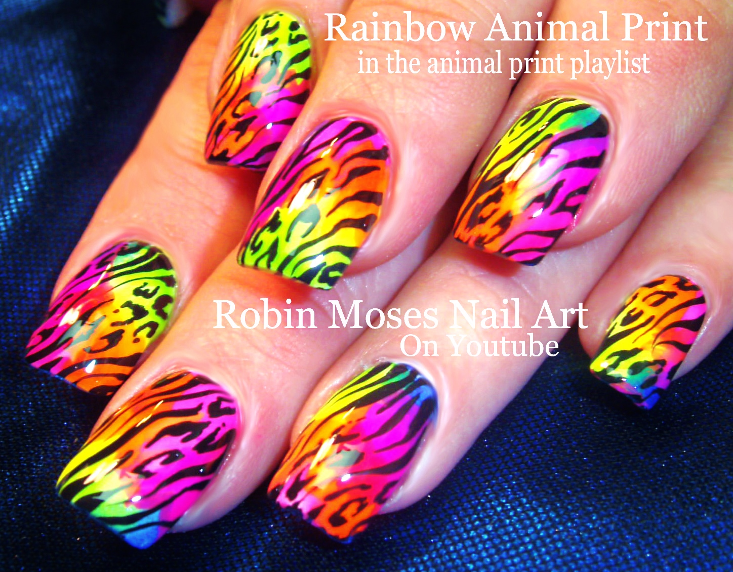 Hot Rainbow Animal Print Design to bring out your nail art Wild side!  Rawrrr! :D Tutorial inside! - Robin Moses Nail Art: Hot Rainbow Animal Print Design To Bring Out