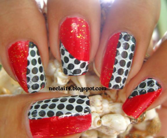 Nail Stash Red Black And White Polka Dots