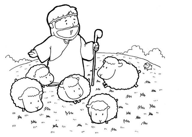 Pastor con ovejas para colorear