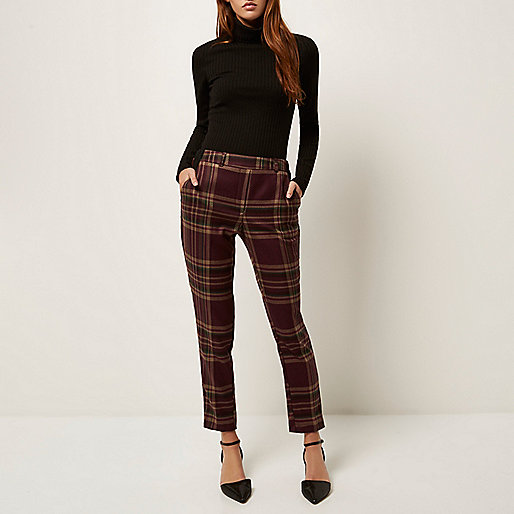 burgundy check trousers, slim check trousers, river island check trousers,