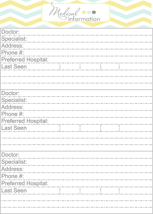 ... and Prescription Info {Home Binder Printables} - Blooming Homestead