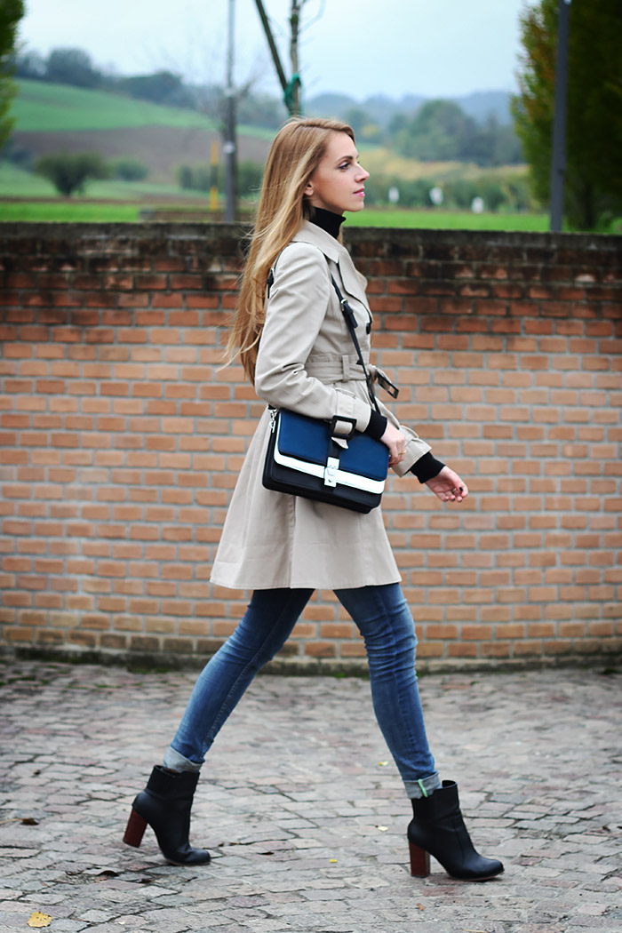 trench coat, jeans, black turtleneck, zara bag and boots