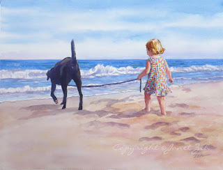 Girl and her dog at the beach watercolor custom painting