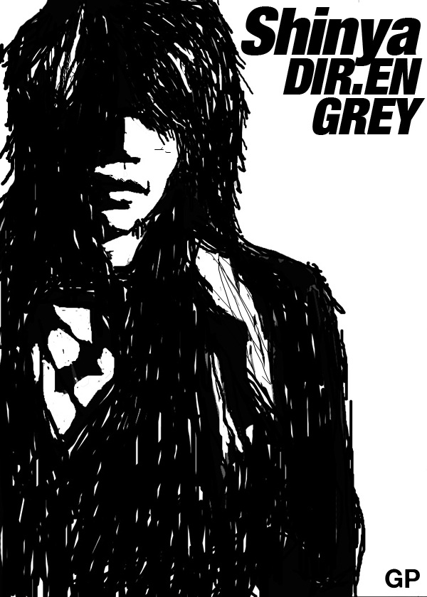 SHINYA DRUMMER DIR EN GREY DRAWING POTRAIT RINKAKU