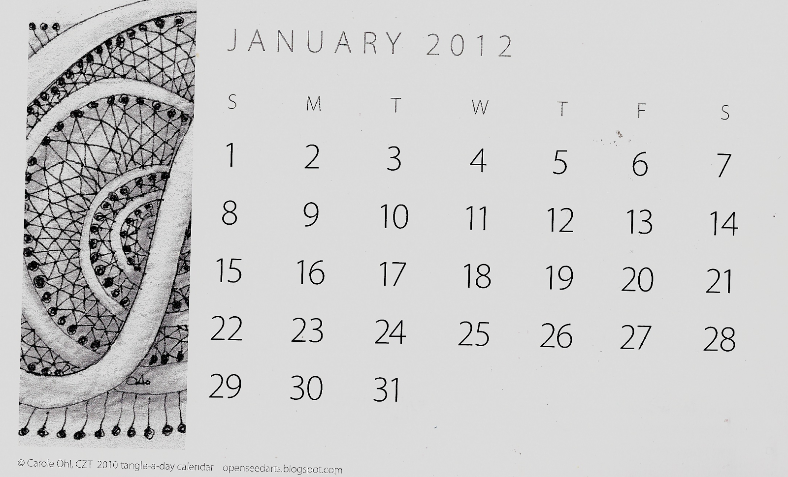 Calendar Picture Ideas For Each Month : New tangle pattern raisin s and a review of carole ohl