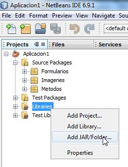 Clic derecho en Libraries y escogemos la opción Add JAR/Folder...