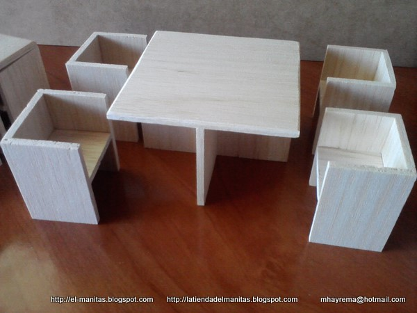 El mundo de las manualidades y la artesan a mesa y sillas for Muebles de carton moldes