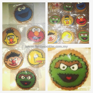 elmo, cookie monster, oscar, berd, ernie, big bird cookies