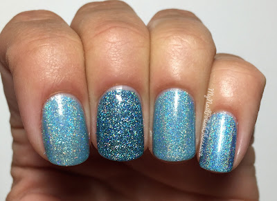 Smitten Polish Christmas In Stars Hollow; blue comparison - I Smell Snow, Jack Frost, A Bouquet of Warblers