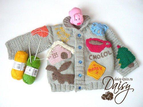 Вязание крючком теплые кофты для малышей