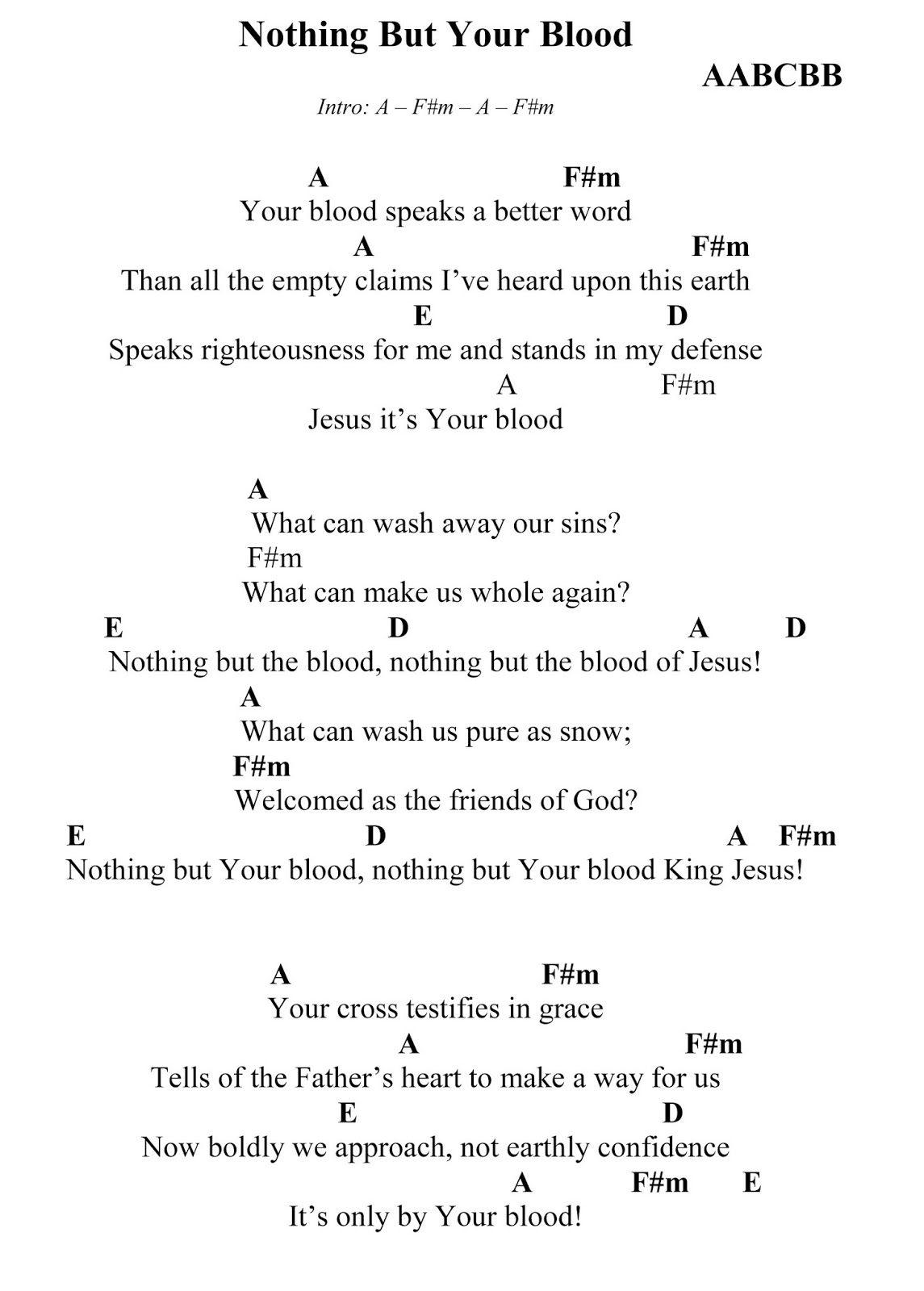 Enriched affections sunday singables nothing but the blood you might also find this song under the title nothing but your blood this song works well before communion or after a message about the cross hexwebz Image collections
