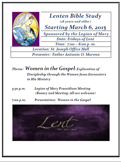 2015 Lenten Bible Study by Father Antonio O. Moreno