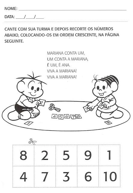 Atividades matemática Turma da Mônica - Segundo Período