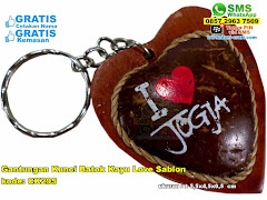Gantungan Kunci Batok Kayu Love Sablon