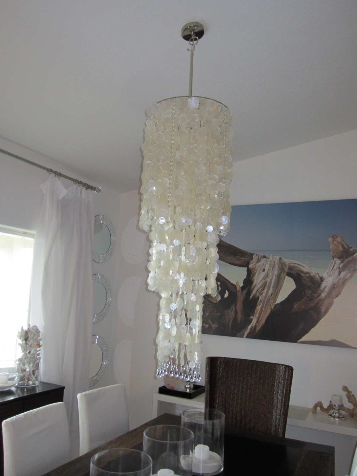 As These Things Tend To Go Ive Figured Out That My Capiz Shell Chandelier Used Hang Above Dining Room Table Seen Here Is Too Long