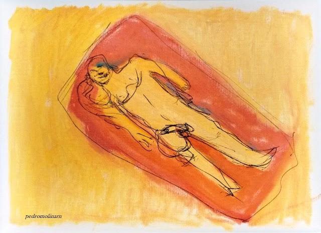 calor, pintura de hombre desnudo en la playa