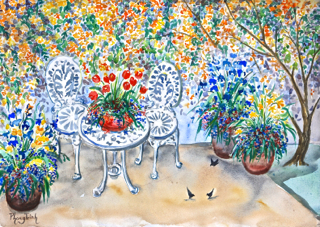 """It was a rare opportunity to visit a home garden in spring.  For a composition, I looked down from a deck into a garden corner and decided that she's mine.  It looks ambitious.  It looks overloaded.  I knew with the sweeping wash and mute colour movement at the moment in watercolour art scene, I think this is the one that would be avoided by many watercolour painters at all cost.  """"What are you going to do?"""" asked one of my friends.  """"Paint it, I am going to paint it"""" I replied.  At the same time I was not so sure.  This was my first time.  I might fail but that was the point to seize the opportunity to stretch my boundary.  Looking at all dazzling colours in front of me, I thought about one of my heroes, Vincent Van Gogh.   I thought about Van Gogh because he came from the land of flowers.  He was fearless in his approach to painting direct and was brilliant in portraying the essence of nature with its complexity. With that thought, I did not have much to lose but a lot to gain.  I jumped straight in capturing the flowering honey suckle wall, the garden furniture set, the pots full of bulb flowers, a small blossom tree and finally few black birds!  I though about the tulip fields of Netherland as I added the red tulips to the pot on the table.  I thought about the blue iris field he painted as I added blues irises to the pots around the table.  I tried to keep to colours pure, intense and raw with descriptive strokes capturing features of elements (the technique I saw in his paintings) in the same time I tries to retain the glittering effect of sun light.  This is, if I may say, a tribute to Van Gogh, a master who showed me the joy and excitement in nature with his brilliant and """"could not be more direct"""" technique!  It took courage to capture the """"Wow"""" factor in nature the way he did.  That courage and soul have become Van Gogh legacy!  When I look at my """" Spring in the Yard"""", I feel dazzled and happy.  I think I have captured the effect of spring in this garden c"""
