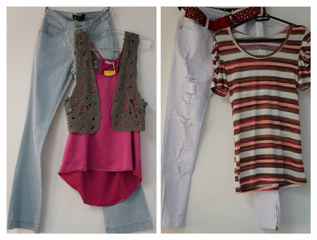 look montado com as roupas do Bazar Chic da Analu Villa - cidade de Santos