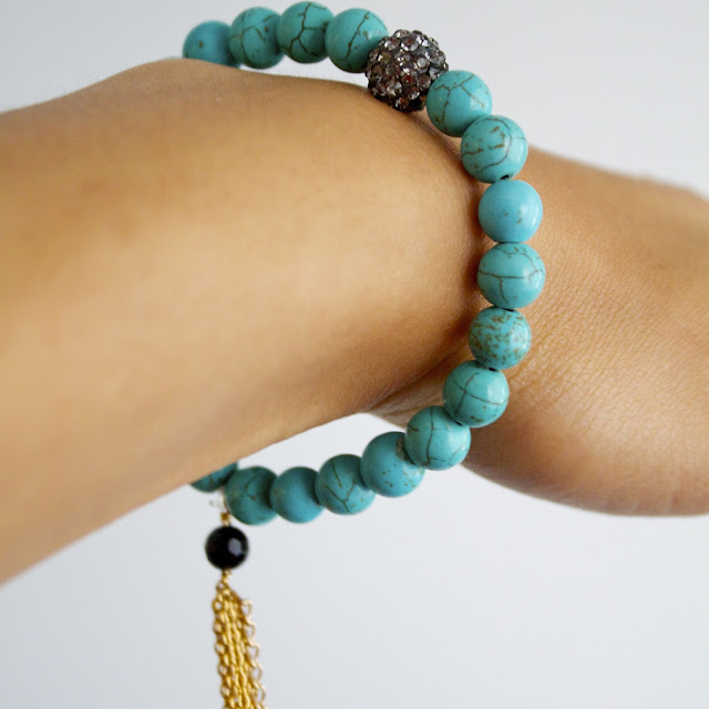 diy hand made turquoise bracelet with gold tassel and pave bead accent
