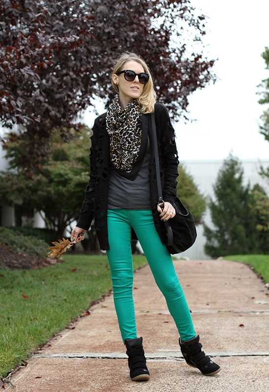 """The Wind of Inspiration Outfit of the Day Post  - """"Walking In My Wedge Sneakers"""" (American Eagle Outfitters Top, Asos Holey Cardigan, Free People Skinny Jeans, Steve Madden Hilight Wedge Sneakers, Eileen Fisher Shoulder Bag, H&M Animal Print Scarf, Asos Oversized Retro Sunglasses, Black Colored Stone Stud Earrings, Sinful Colors Professional 1062 Leap Flog Nail Polish)"""