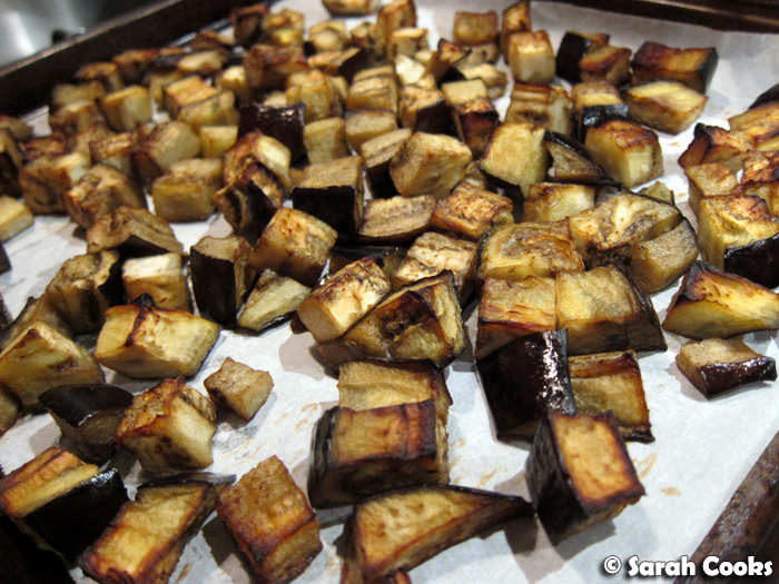 roasted eggplant cubes mmm i love roasted eggplant and they