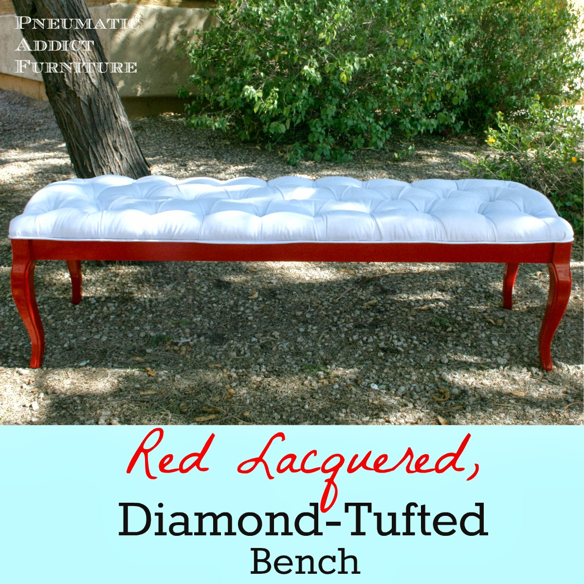 pneumatic addict coffee table turned tufted bench