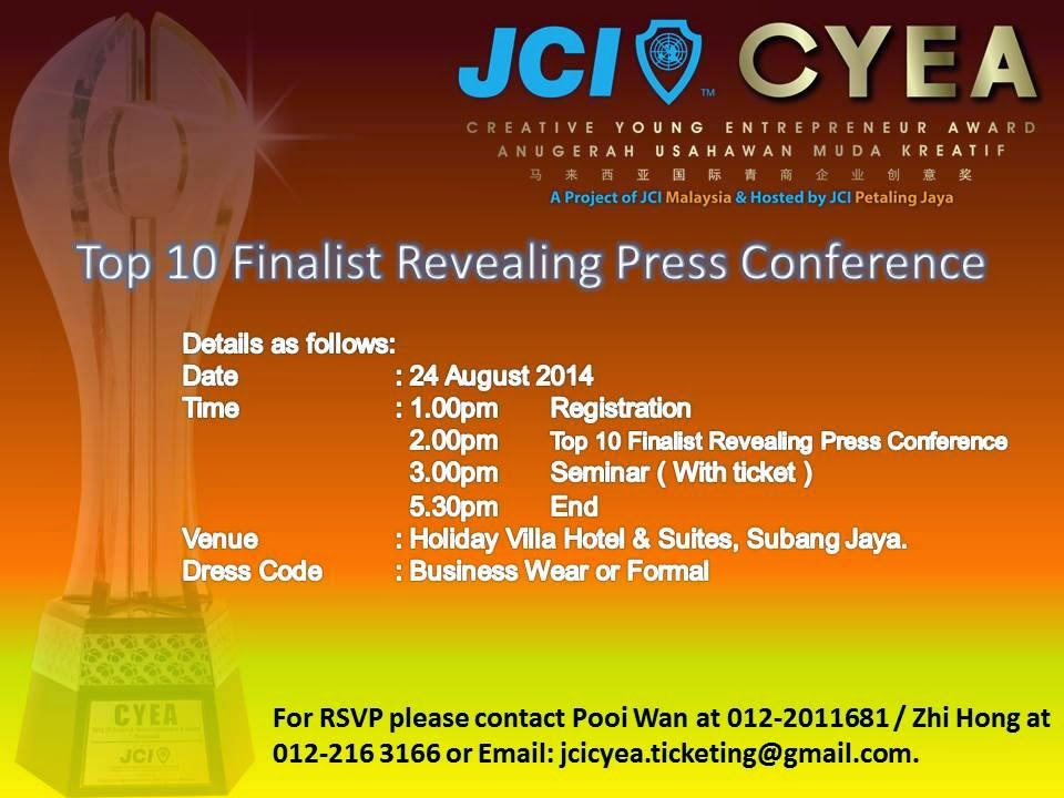 JCI Creative Young Entrepreneur Award Top 10 Finalists Revealing Ceremony & Charity Seminar