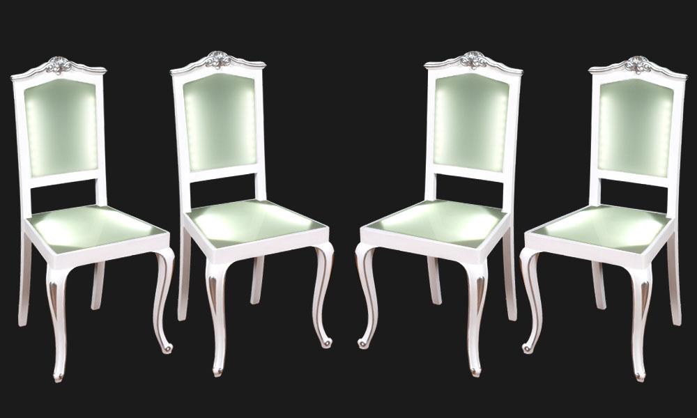 Sedie plexiglass luminose illuminazione led barocco laccate bianche e argento design myartistic - Mobili in plexiglass ...
