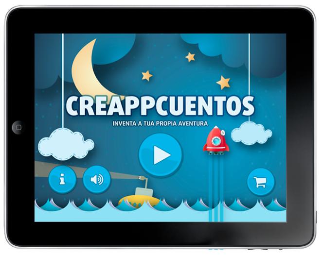 pantalla de inicio de la aplicación creappcuentos