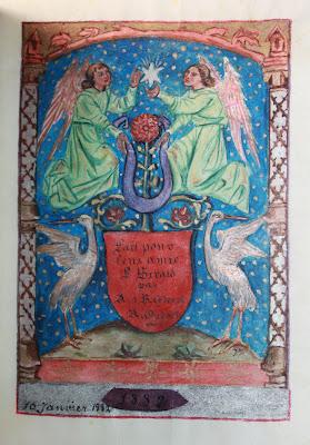 Livre d'Heures amicorum entièrement peint à la main en 1882 dans Bibliophilie, imprimés anciens, incunables heures5