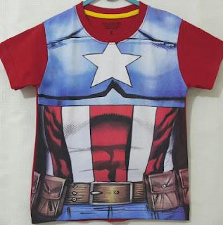 Baju Anak Karakter Captain America Body Size 1 - 6 Tahun