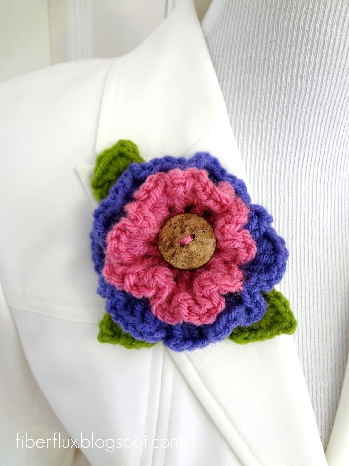 Free Ruffle Yarn Crochet Patterns : Fiber Flux: Free Crochet Pattern...Layered Ruffle Flower