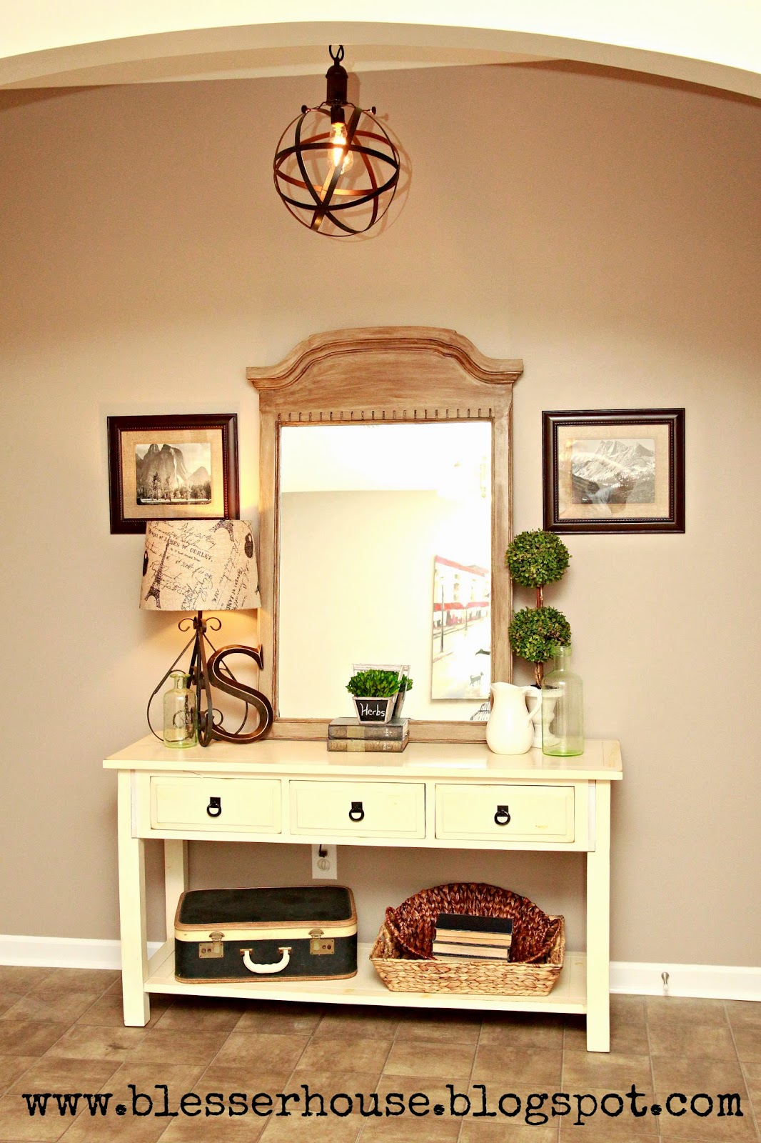 Diy restoration hardware finished mirror bless 39 er house for French country foyer