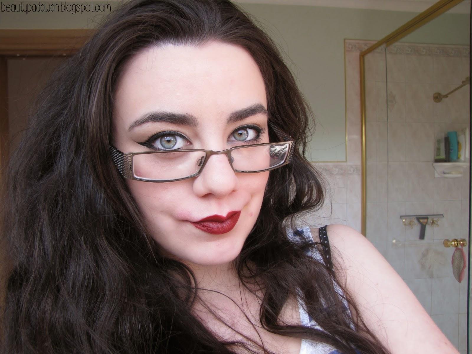 "Wearing MAC Novel Romance ""Hearts Aflame"" lipstick"