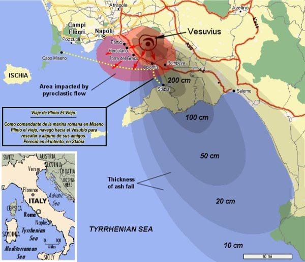 Efectos de la erupción del Vesubio del año 79 d.C.