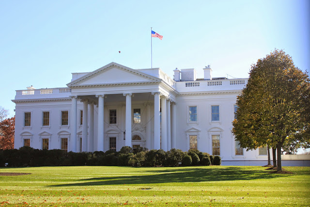 The front view of The White House in Washington DC, USA