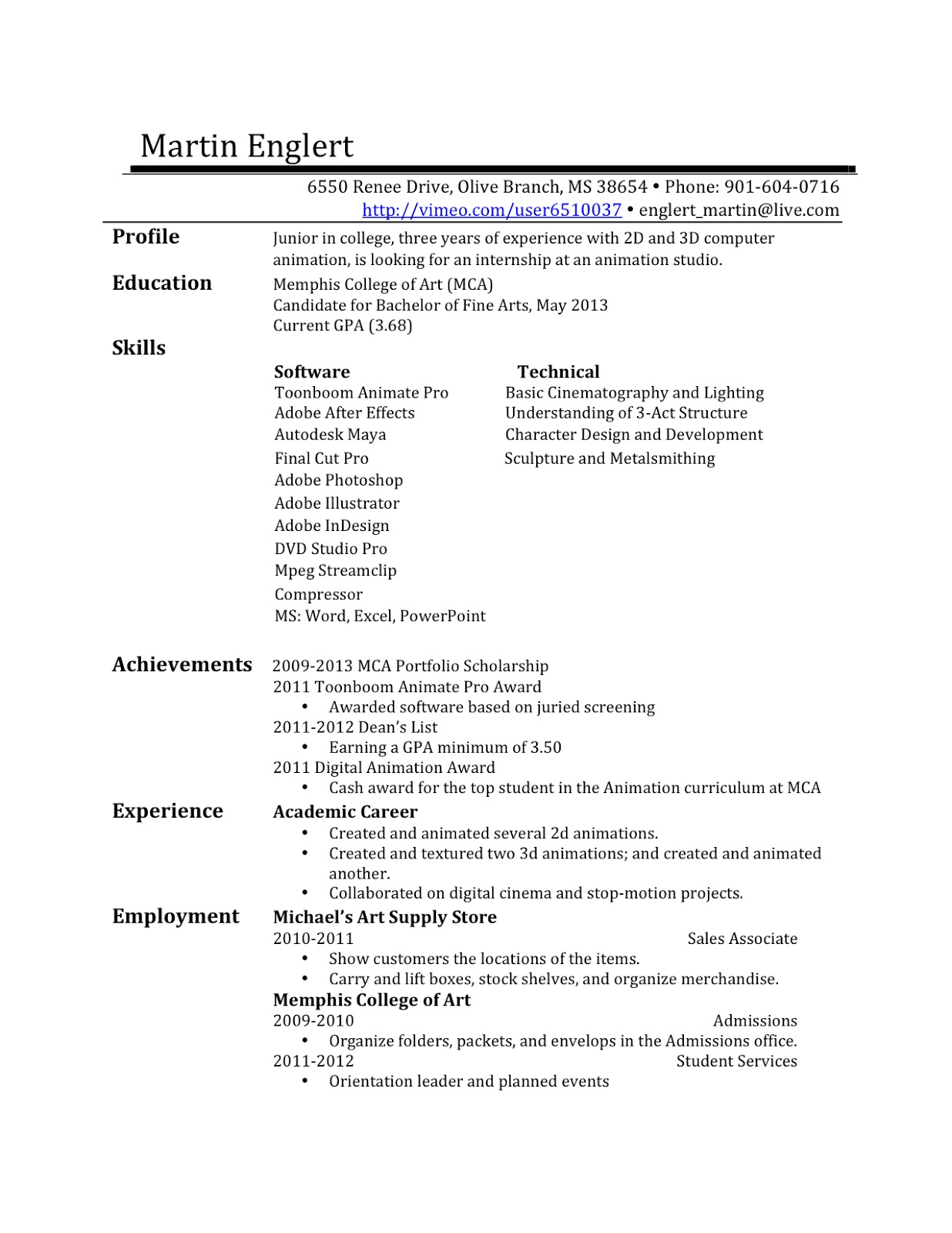 resume drafts