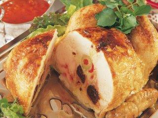 Pollo relleno con ciruelas al grill